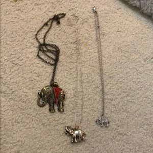 Set of elephant necklaces